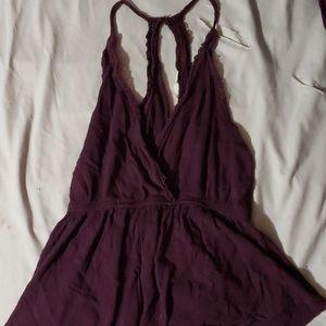 Burgundy/purple V neck blouse
